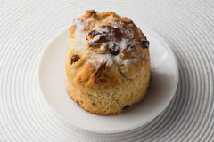 Homemade carrot muffin with empty space on white fabric background. Copyspace top view Stock Photo