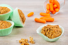 Homemade carrot muffins baked for Easter holdiay Stock Photos