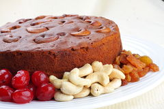 Homemade cashew plum cake Royalty Free Stock Photos
