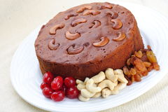 Homemade cashew plum cake. Homemade cake with Plums,Cashew nuts Stock Photo