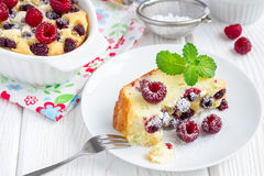 Homemade casserole with cottage cheese, semolina and raspberries, horizontal Royalty Free Stock Photography