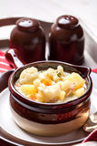 Homemade cauliflower soup in a brown bowl. Stock Photo