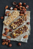 Homemade cereal bars with nuts royalty free stock images