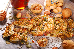 Homemade cereal cookies with nuts and honey Stock Photography