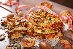 Homemade cereal cookies with nuts and honey Royalty Free Stock Photo