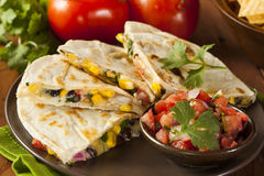 Homemade Cheese and Bean Quesadilla Stock Photo