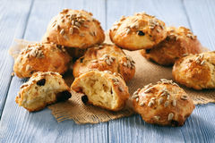 Homemade cheese bread rolls with cranberries, almond ans sunflower seeds. Stock Photography