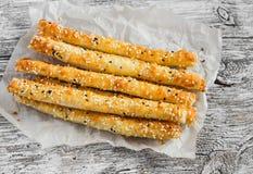 Homemade cheese bread sticks Stock Photo