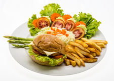 Homemade cheese chicken burger with fresh salad on plate. Stock Images