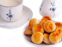 Homemade cheese cookies and cup of milk Stock Photos