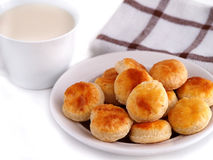 Homemade cheese cookies and cup of milk Stock Image