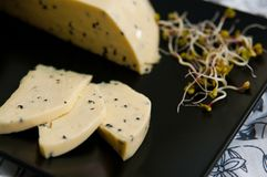 Homemade cheese with Nigella sativa seeds and radish sprouts. Pieces of homemade cheese with Nigella sativa seeds, cut and arranged on dark plate decorated with stock image