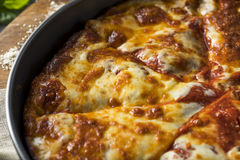 Homemade Cheese Pan Pizza. Ready to Eat stock photography