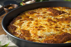 Homemade Cheese Pan Pizza. Ready to Eat stock images
