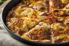Homemade Cheese Pan Pizza. Ready to Eat royalty free stock images