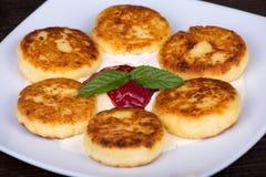 Homemade Cheese Pancakes Royalty Free Stock Photo