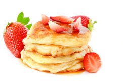 Homemade cheese pancakes and strawberries Royalty Free Stock Image