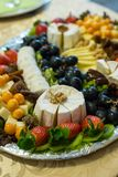 Homemade cheese platter of different cheeses Royalty Free Stock Images