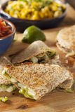 Homemade Cheese Quesadilla. With onions and pablano peppers Royalty Free Stock Image