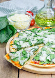 Homemade cheese spinach pizza Royalty Free Stock Photos