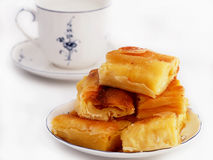 Homemade cheese strudel and cup of milk Royalty Free Stock Photo
