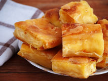 Homemade cheese strudel on plate Stock Image