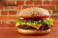 Homemade cheeseburger Stock Photography