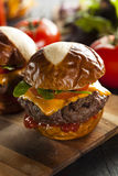 Homemade Cheeseburger Sliders with Lettuce Royalty Free Stock Images
