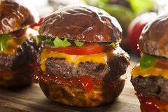 Homemade Cheeseburger Sliders with Lettuce Royalty Free Stock Image