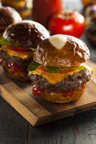 Homemade Cheeseburger Sliders with Lettuce Royalty Free Stock Photos