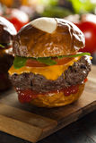 Homemade Cheeseburger Sliders with Lettuce Stock Images
