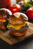 Homemade Cheeseburger Sliders with Lettuce Royalty Free Stock Photo