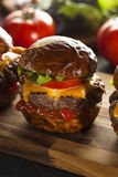 Homemade Cheeseburger Sliders with Lettuce Stock Image