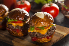 Homemade Cheeseburger Sliders with Lettuce Stock Photography