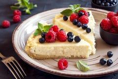 Homemade cheesecake with fresh berries Royalty Free Stock Photo