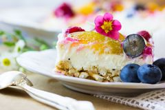 Homemade cheesecake with fresh berries and mint for dessert - healthy organic summer dessert pie cheesecake. Cheese cake. NHomemade cheesecake with fresh berries Stock Images