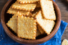 Homemade cheesy crackers Stock Image