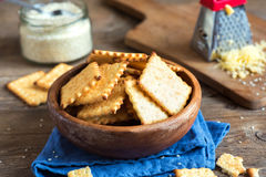 Homemade cheesy crackers Stock Photos