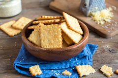 Homemade cheesy crackers Royalty Free Stock Photos