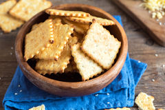 Homemade cheesy crackers Royalty Free Stock Image