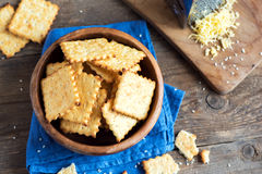 Homemade cheesy crackers Royalty Free Stock Photography