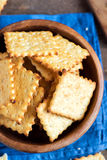 Homemade cheesy crackers Stock Images