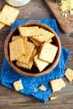 Homemade cheesy crackers Royalty Free Stock Photography