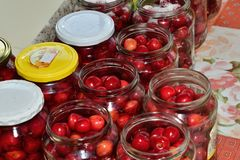 Homemade cherries conserve preserved. To glass royalty free stock image