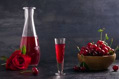 Homemade cherry alcohol drink liquor with fresh cherry berries. stock photography