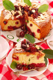 Homemade cherry cake with almonds Royalty Free Stock Image