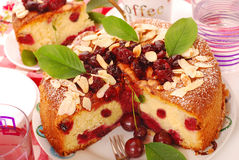 Homemade cherry cake with almonds Royalty Free Stock Photo