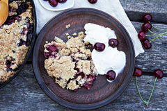 Homemade Cherry crumble Royalty Free Stock Image