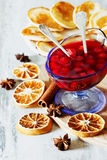 Homemade cherry jam and  pancakes Royalty Free Stock Photography