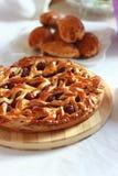 Homemade cherry pie with decorative lattice top Stock Photos